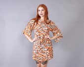 Vintage 60s DRESS / 1960s Bohemian Novelty TIGER Print Angel Sleeve Mini