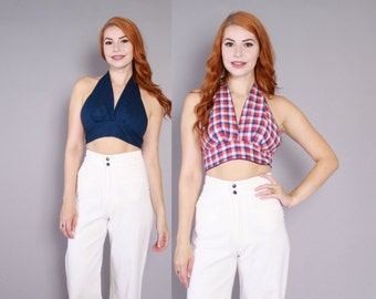 Vintage 70s HALTER TOP / 1970s Reversible Red White & Blue Plaid Backless Crop Top
