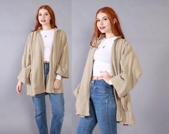 Reserved...Vintage 70s MINIMALIST JACKET / 1970s Textured Indian Cotton Loose Fit Draped Khaki Jacket