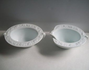 Vitrock Milk Glass Sugar and Creamer Anchor Hocking