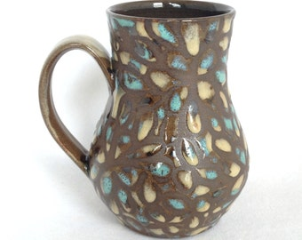 18 oz Turquoise and Sand Speckled Floral Mug , Free Shipping