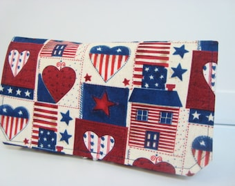 Coupon Organizer Wallet Cash Budget Organizer Holder- Attaches to your Shopping Cart - American Hearts and Stripes