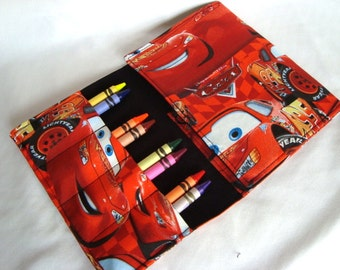 Crayon Tote on the Go /Cryaon Wallet Crayons and note pad included Cars Or Pick Your Fabric