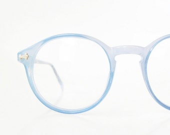 ON SALE Vintage Blue Round Eyeglasses 1960s P3 Womens Glasses Frames Deadstock Optical Nos New Old Stock Pastel Robins Egg Light Sunnies