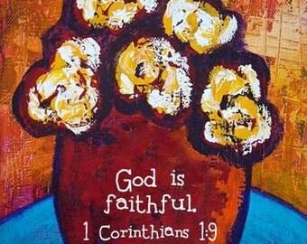 Framed Flower Scripture Print - God is faithful.