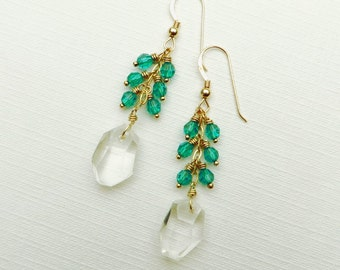 Abstract Rock Crystal Gemstone Emerald Crystals Gold Earrings