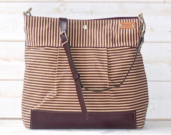 BEST SELLER Diaper bag, Messenger bag, WAXED Stockholm Plum geometric nautical striped  Leather, Ikabags Featured on The Martha Stewart F1