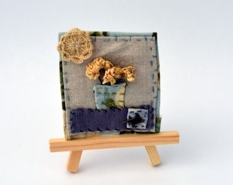 Textile art collage - Flowers in a vase