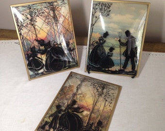 Vintage SILHOUETTE Convex Glass Framed Picture Set of 3 6x8 with Mother, children, Cat, Man, Pitchfork 1940s Reverse Lot Collection