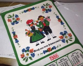 1986 Towel Calendar Germany Heavy Linen KITCHEN Tea Hanging with dowel Girl and Boy