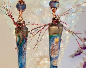 Cobalt Blue Porcelain Cone and fiber Dangle Earrings