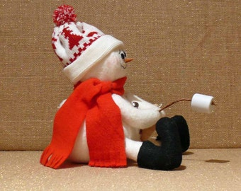 Fabric Snowman Decoration Roasting Marshmallows