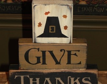 Give Thanks Primitive Wood Stacking Block Set - Thanksgiving Blocks - Fall Home Decor - Shelf Sitter Decoration