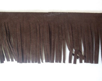 Chocolate Brown color Faux Leather Suede Fringe Trim