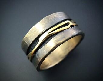 Sterling Silver 14K Gold Ring Handmade Jewelry Wild Prairie Silver Jewelry Joy Kruse