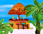 Tiki beach bar palm tree Art Top sheet and  matching pillow cases, from my art