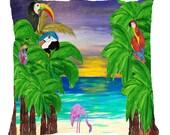 Tropical garden beach birds throw pillow available in 4 sizes