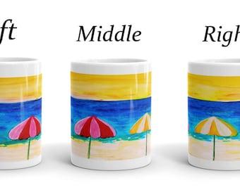 Beach colorful umbrellas coastal ceramic mugs from my art