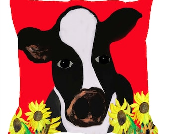 Cow and sunflowers art pillow