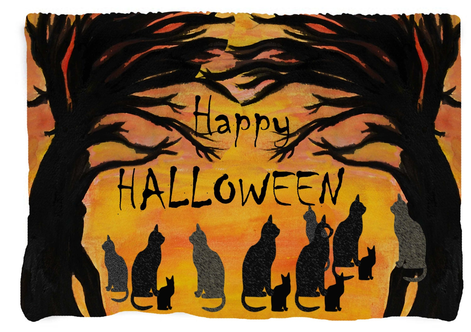 Happy Halloween Black Cats & Trees Throw by maremade