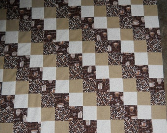 COFFEE  -  quilt top      *new*      (46 x 48)
