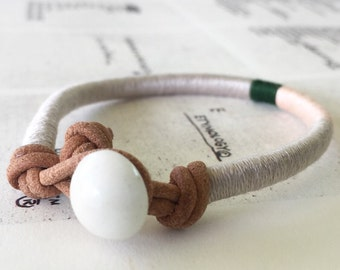 READY TO SHIP - Cooper bracelet - leather wrap, vintage glass button closure, handmade jewelry