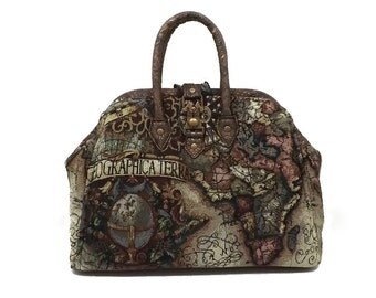 Steampunk Old World Map Mini Mary Poppins Style Carpet Bag Handbag