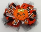 Happy Halloween face pumpkin hair clip hair bow for toddler girl or baby