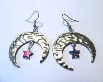 Crescent Moon Star Earrings Hoop Rainbow Chandelier Dangle Jewelry Azeetadesigns Azeeta Designs