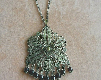 Middle Eastern Spun Filigree Gypsy Boho Pendant Necklace
