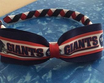 NY Giants Football Logo Woven Headband with Attached Bow - New York Team - Stand Out In The Crowd
