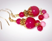 Pink and Gold Vintage Beaded Earrings. Repurposed Jewelry