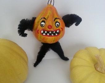 Vintage Style Folk Art Carnival Gourd Pumpkin Ornament