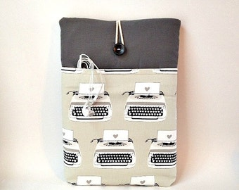 Surface Book Case, Pro 4 Sleeve, Pro 3, Pro 2, Tablet Padded Bag, Laptop Cover, Cord Pocket, Writer Author Blogger Typewriter  Student Sac