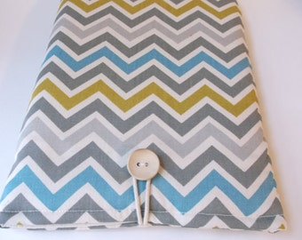 Chevron Kindle Fire HD 8 Case, Kindle Fire HD 10 Sleeve, Cotton Tablet Cover, Canvas Laptop Bag, Blue Yellow Grey  Stripes Mens Womens Sac