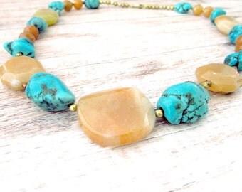Womens Boho Gemstone Necklace - Boho Beaded Gemstone Necklace - Boho Style Gemstone Necklace - Bohemian Turquoise Necklace - Blue Gemstone