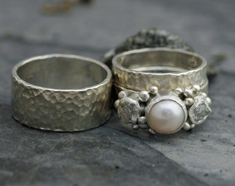 Three Rings- Rough Diamond and Pearl Engagement Ring  and His-and-hers Wedding Band Set