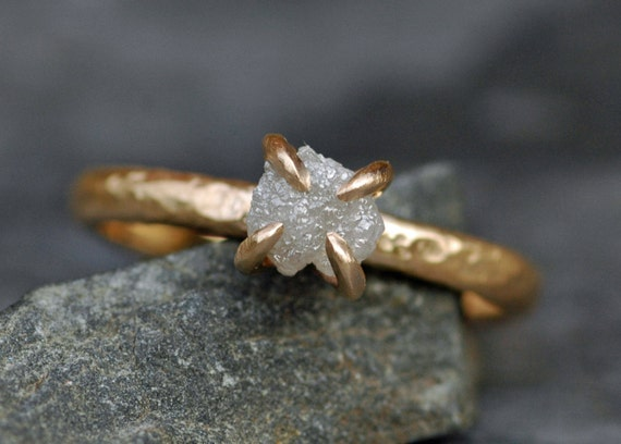 Conflict Free Rough Large Diamond Engagement Ring in Recycled 18k  Gold- Size C Diamonds