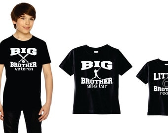 Baseball Theme T-shirt Trio Big Brother Veteran, Big Brother All-star And Little Brother Rookie, Custom Shirts, Set Of 3 Graphic Tees Gifts