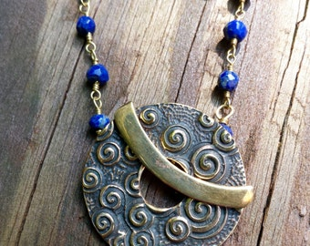 Lapis and Swirl Toggle Necklace