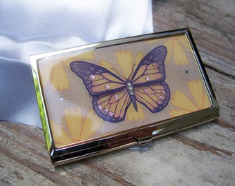 Butterfly Business Card Holder Case Wallet, bedazzled, 1980s, New in Box, Vintage, Crystals, enamel, silver, elegant