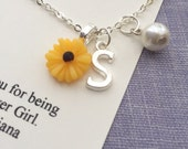Sunflower, sun flower, personalized, initial, flower girl, flowergirl, pearl, necklace. Comes with free personalized card and ORGANZA bag.