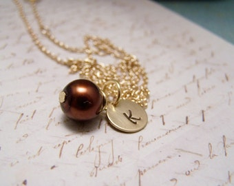 Brown Pearl and Initial Necklace... Bride... Bridesmaid... Minimalist... custom personalized