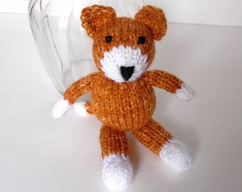 "Hand Knit Stuffed Animal Cat, Ready To Ship, Small Kitty, Little Stuffed Cat, Knit Toy Kids Handmade Toy, Newborn Photo Prop Kitten 7 1/2"""