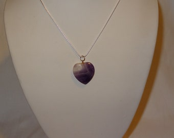 Sterling Silver and Amethyst Heart Pendant Necklace