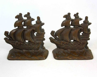 Vintage Solid Bronze Nautical Ship Bookends. Circa 1960's.