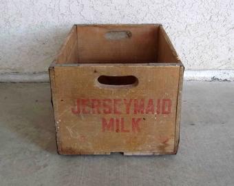 "Vintage ""Jersey Maid Milk"" Wooden Crate. Rustic Storage. Circa 1960's."
