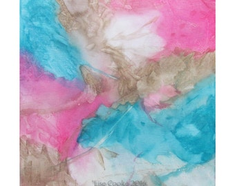Original Expressionism Abstract Painting Modern art ebsq Turquoise Pink Taupe Chrysalids