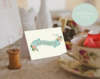 PRINTABLE Reserved Table Tents // Wedding Reserved Signs // Reception Tables // INSTANT DOWNLOAD