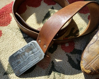 SALE - Vintage Well Used Men's Brown Leather Belt With Heavy Railroad Buckle from Rustysecrets